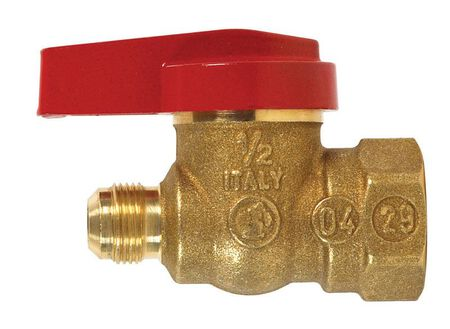 B & K Gas Ball Valve 9/16 in. Flare x 1/2 in. Dia. FPT Brass One Piece