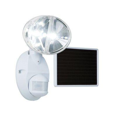 All-Pro 100 deg. Motion-Sensing LED White Solar Flood Light 1 pk
