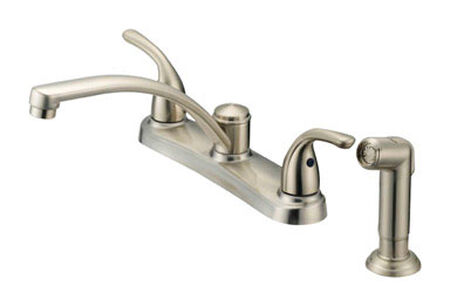 OakBrook Anabelle Two Handle Nickel Kitchen Faucet Side Sprayer Included