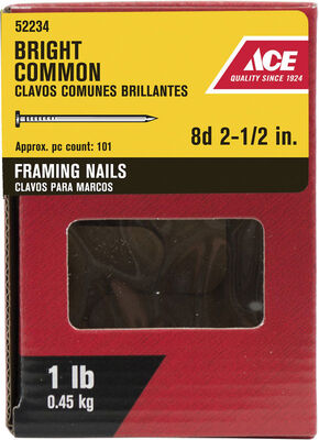 Ace Round 2-1/2 in. L Framing Nail Smooth Bright Steel 11-1/2 Ga. 1 lb.