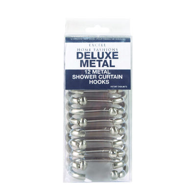 Excell Deluxe Shower Curtain Rings 1-5/8 in. L Metal 12 pk