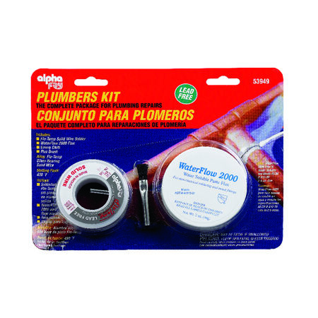 Alpha Fry 6 oz. Plumbers Kit Flo-Temp Solid Wire Silver Bearing Solder Lead Free Silver Bearing