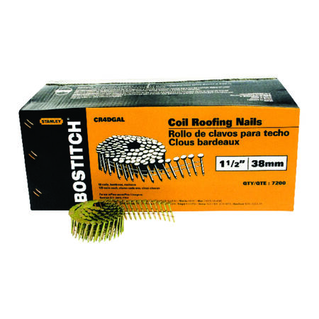 "7,200-Qty. 1-1/2"" Smooth Shank 15 degree Coil Roofing Nails"