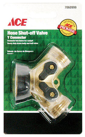 Ace Brass Hose 2-Way Shut-off Valve Male Threaded