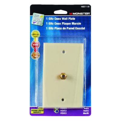 Monster Cable Just Hook It Up 1 gang Ivory Coaxial Wall Plate 1 pk
