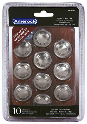 Amerock Inspirations Round Furniture Knob 1-1/4 in. Dia. Satin Nickel 10 pk