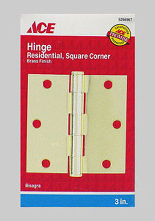Ace Steel Residential Hinge 3 in. L Satin Brass 2 pk