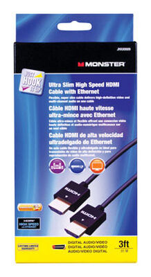 Monster Just Hook It Up 3 ft. L High Speed HDMI Cable with Ethernet HDMI