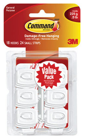 3M Command Mini Hook 11/8 in. L Plastic 1/2 lb. per Hook lb. 18 pk