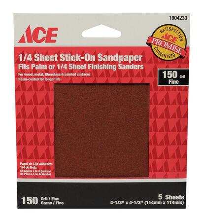 Ace Aluminum Oxide Sandpaper 4-1/2 in. L 150 Grit Fine 5 pk