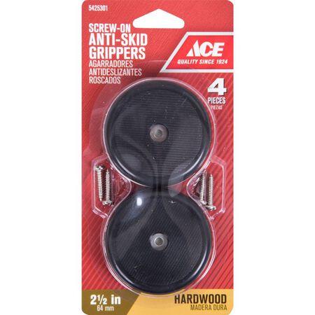 Ace Plastic Round Heavy Duty Anti-Skid Pads Black 2-1/2 in. W 4 pk