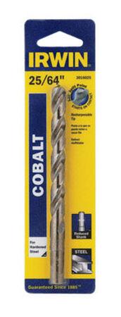 Irwin Cobalt High Speed Steel Reduced Shank 25/64 in. Dia. x 5-1/8 in. L Drill Bit