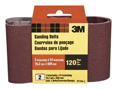 3M Sanding Belt 3 in. W x 24 in. L 120 Grit Fine 2 pk