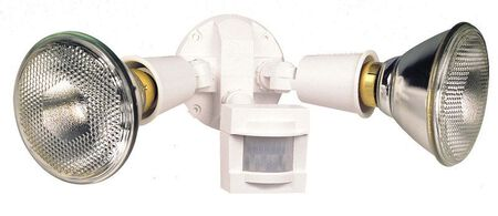 Heath Zenith Floodlight Plastic White Motion-Sensing Incandescent 300 watts