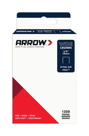 Arrow Fastener #856 Wide Crown Standard Staples Galvanized Steel 3/8 in. L 1250 pk