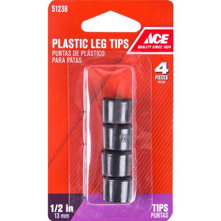 Ace Plastic Round Leg Tip Black 1/2 in. W 4 pk