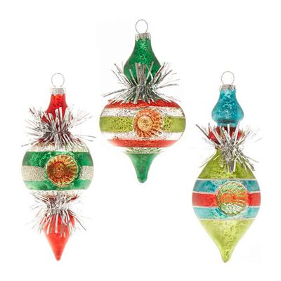 "5.5"" Tinsel Finial Ornament"