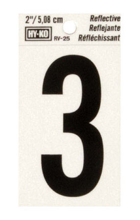 Hy-Ko Self-Adhesive Black Reflective Vinyl Number 3 2 in.