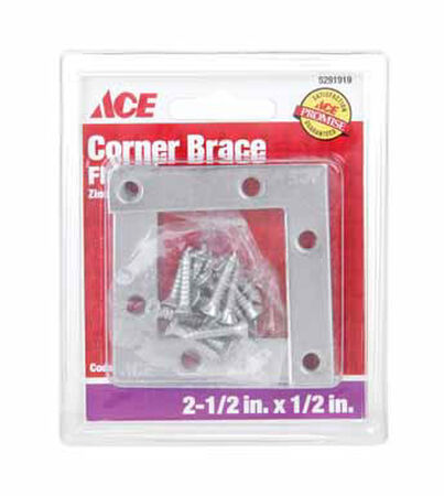 Ace Flat Corner Brace 2-1/2 in. x 1/2 in. Zinc