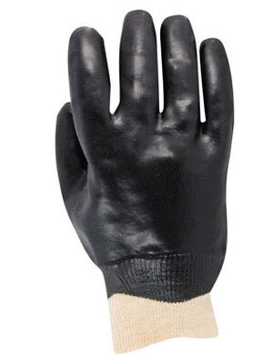 Handmaster Black Universal One Size Fits All Vinyl Coated Work Gloves