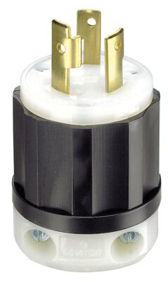 Leviton Industrial Nylon Grounding Locking Plug L6-30P 2 Pole 3 Wire Black/White