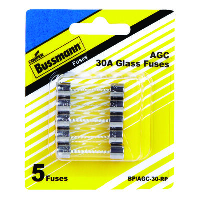 Bussmann 30 amps AGC Glass Tube Fuse 5 pk