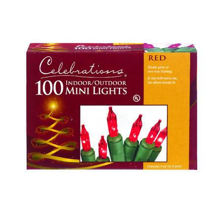 Celebrations Mini Incandescent Light Set Red 20.625 ft. 100 lights