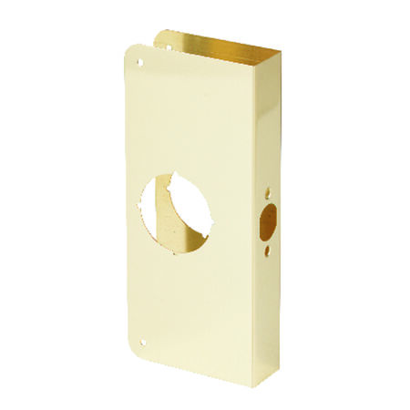 Prime-Line Door Reinforcer Entry 2-1/8 in. 3-7/8 in. x 9 in. Brass Solid Brass Use on Thick Wood or