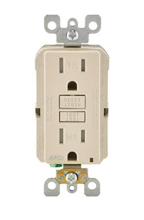 Leviton SmartlockPro AFCI Receptacle 15 amps 5-15R 120 volts Light Almond