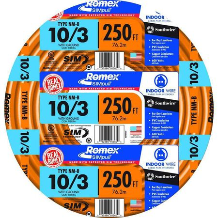 Southwire 250 ft. 10/3 Romex Type NM-B WG Non-Metallic Wire Orange