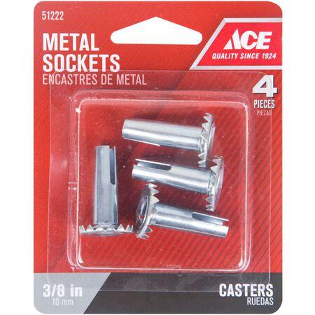 Ace Stamped Metal 3/8 in. Dia. Metall Caster Socket 4 pk