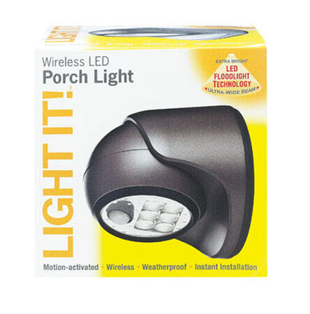 Light It Wireless Porch Light Plastic Bronze Motion-Sensing LED 6 volts
