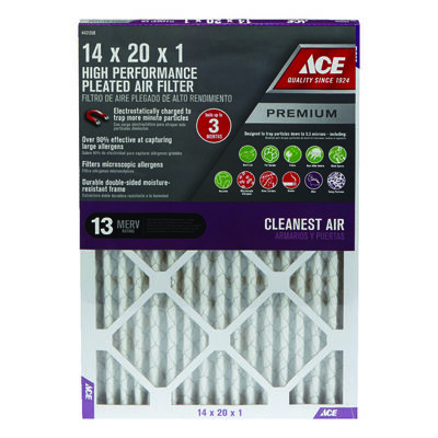 Ace 20 in. L x 14 in. W x 1 in. D Pleated Air Filter 13 MERV