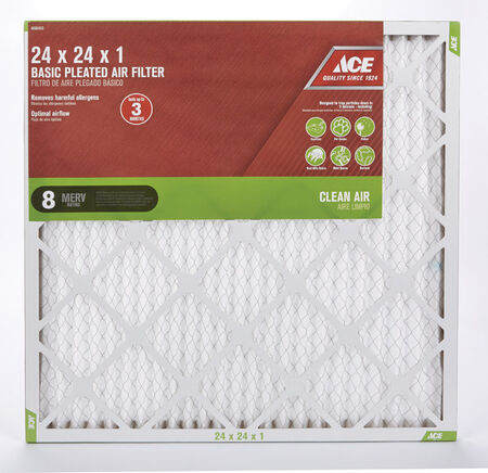 Ace 24 in. L x 24 in. W x 1 in. D Pleated Air Filter 8 MERV