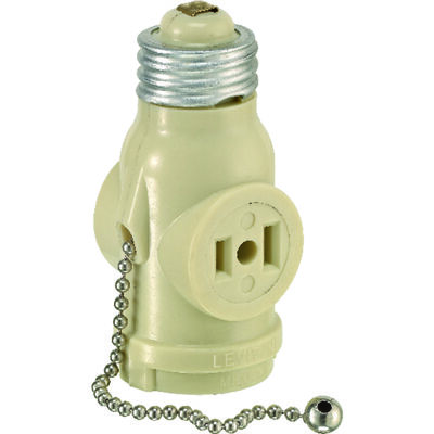 Leviton Pull Chain Socket w/Outlets 125 volts 660 watts Ivory