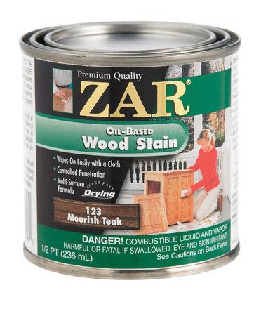 ZAR Semi-Transparent Oil-Based Wood Stain Moorish Teak Tintable 1/2 pt.