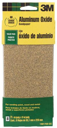 3M Aluminum Oxide Sandpaper 9 in. L 60 Grit Coarse 6 pk