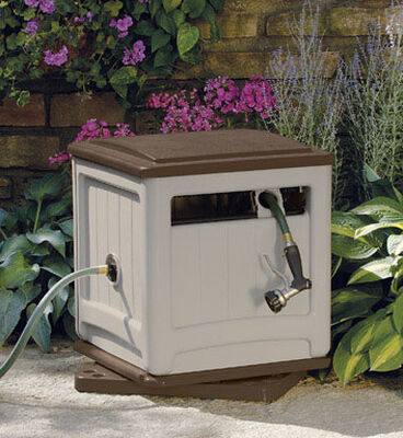 Suncast Swivel Smart Trak Hose Hideaway Stationary Hose Cabinet 225 ft. Taupe