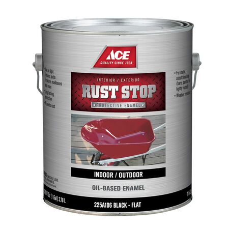 Ace Rust Stop Indoor and Outdoor Flat Black Rust Prevention Paint 1 gal.
