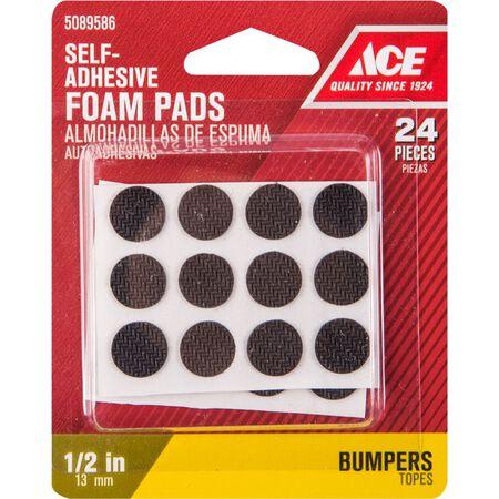 Ace Foam Round Non-Skid Pads Black 1/2 in. W 24 pk