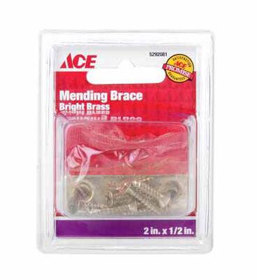 Ace Mending Brace 2 x 1/2 Brass 4 pk Carded