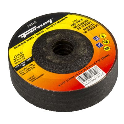 "Forney 4-1/2 Dia. 1/4"" Thickness 7/8"" Arbor Size Grinding Wheel 5 pk"