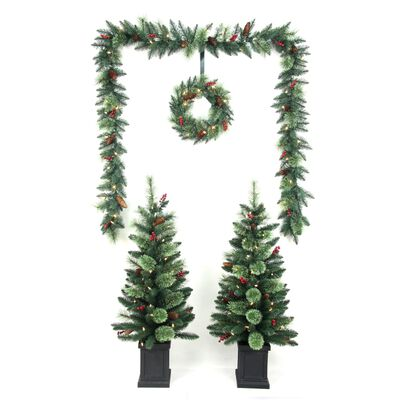 Celebrations 6 ft. White Prelit Cashmere Christmas Tree, Wreath and Garland Combo