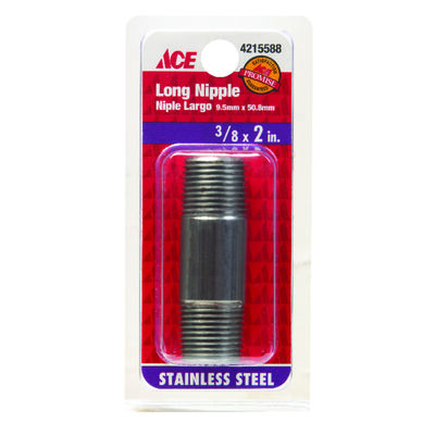 Smith-Cooper Schedule 40 3/8 in. Dia. x 3/8 in. Dia. x 2 in. L MPT To MPT Stainless Steel Pipe N