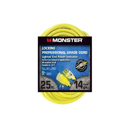 Monster Outdoor Extension Cord 14/3 SJTW 25 ft. L Yellow
