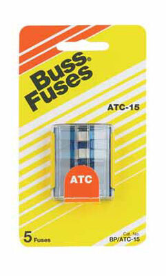 Bussmann 15 amps ATC Automotive Blade Fuse 5 pk