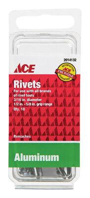 Ace 3/16 in. Dia. Aluminum Rivets 1/2 in. To 5/8 in. 10 pk
