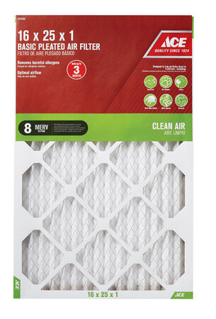 Ace 25 in. L x 16 in. W x 1 in. D Pleated Air Filter 8 MERV