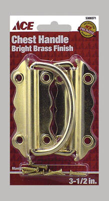 Ace Chest Handle 3-1/2 in. L 3-1/2 in. Bright Brass 2 pk