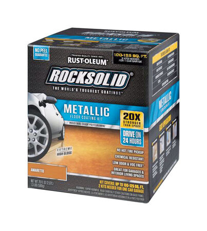 Rust-Oleum RockSolid Floor Coating Kit Extreme High Gloss Amaretto 70 oz.